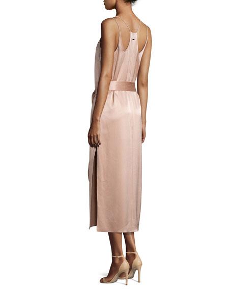 Sleeveless Double-Strap Satin Slip Dress, Light Beige