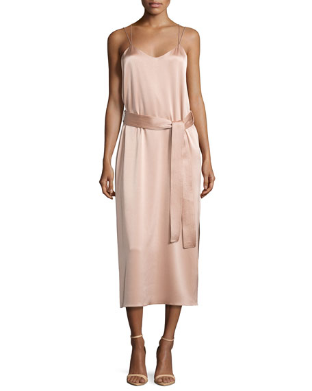 Halston Heritage Sleeveless Double-Strap Satin Slip Dress, Light