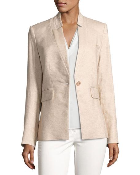 Veronica Beard Linen-Blend Up-Collar Jacket