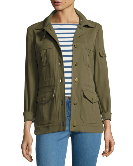 Veronica Beard Camp Ponte Utility Jacket, Lincoln Striped