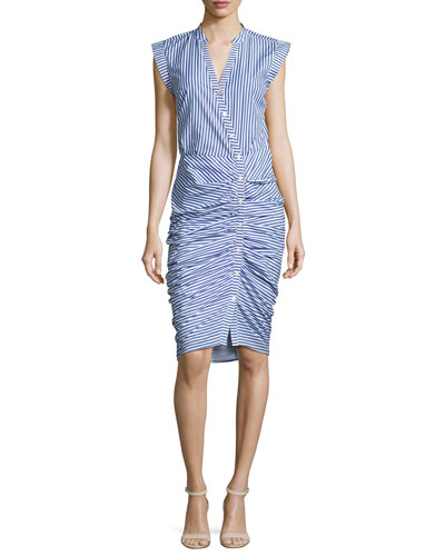 Sleeveless Ruched Striped Shirtdress, Blue/White