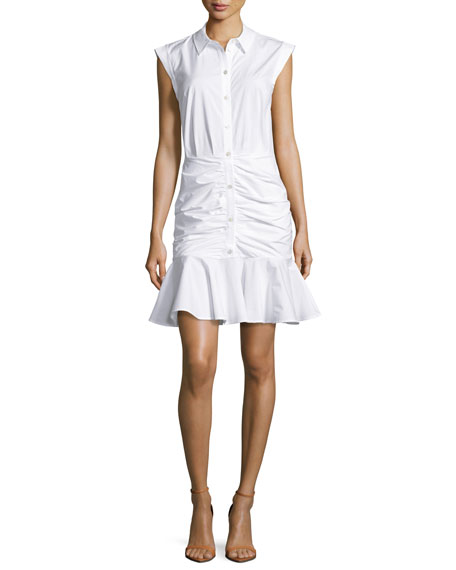 Bell Sleeveless Ruched Stretch Poplin Dress, White