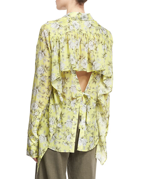 Floral-Print Open-Back Shirt, Yellow
