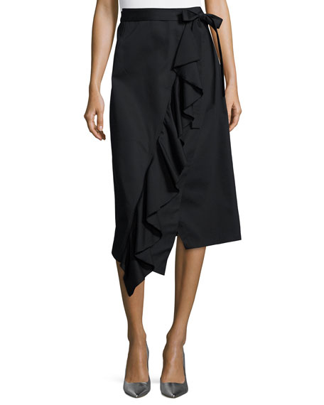 Robert Rodriguez Asymmetric Ruffle Wrap Midi Skirt, Black