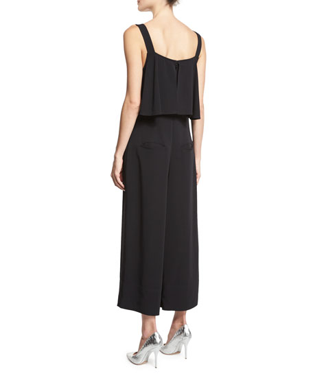 Sleeveless Popover Culotte Jumpsuit, Black