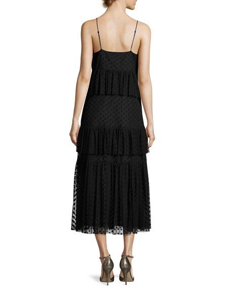 Sleeveless Polka-Dot Lace Tiered Dress, Black