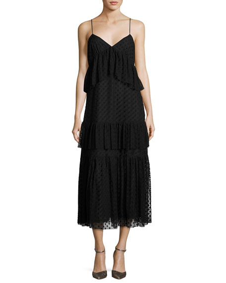 Robert Rodriguez Sleeveless Polka-Dot Lace Tiered Dress, Black
