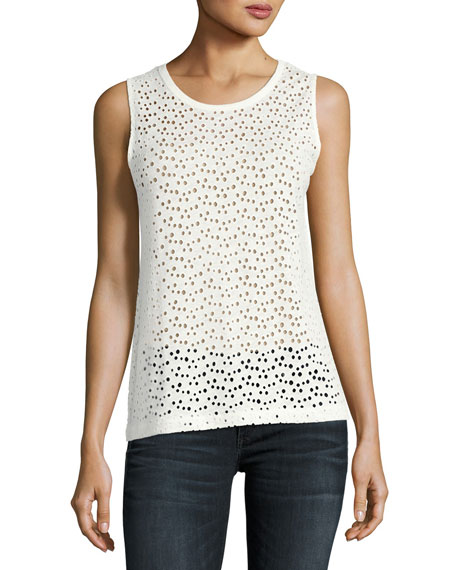 Majestic Paris for Neiman Marcus Linen Eyelet Tank,