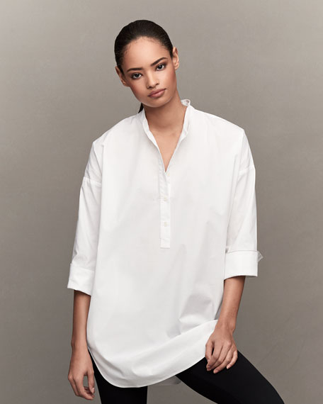 3/4-Sleeve Half-Button Oversized Stretch-Cotton Shirt