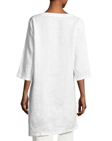 Linen Drama Top, White