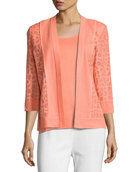 Animal-Print Sheer Knit Jacket, Petite