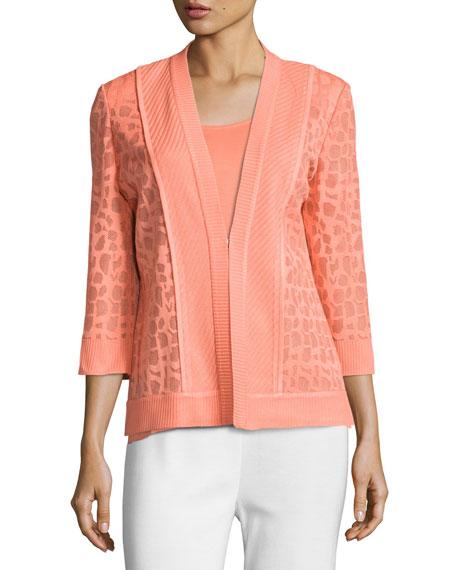 Animal-Print Sheer Knit Jacket, Plus Size