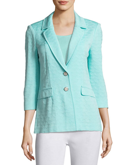 Textured Two-Button Jacket, Sea Grass, Petite