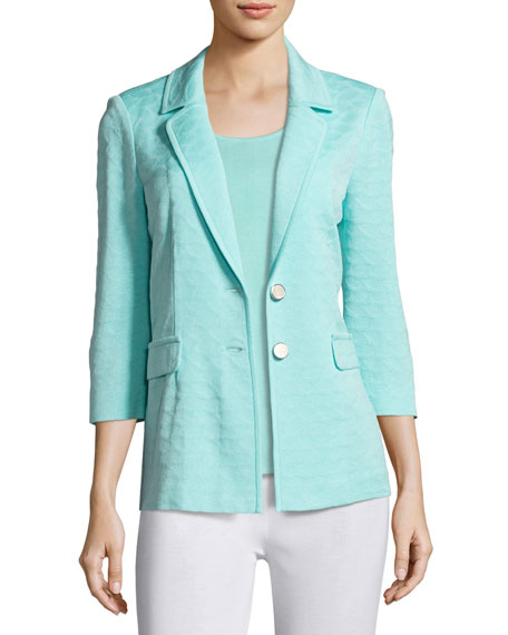 Textured Two-Button Jacket, Sea Grass, Petite