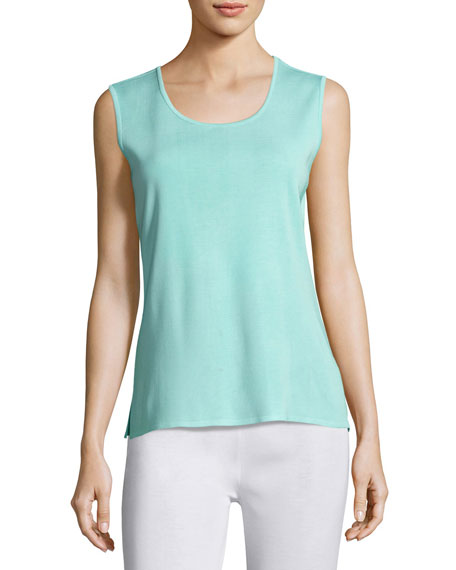 Misook Scoop-Neck Knit Tank, Sea Grass, Petite