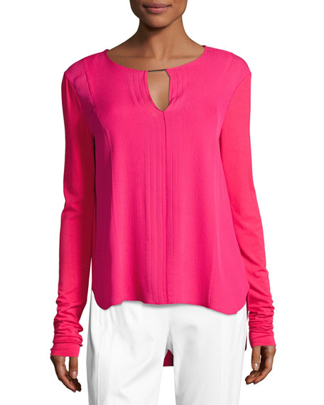 Elie Tahari Amerie Mixed-Media Silk-Combo Blouse, Pink