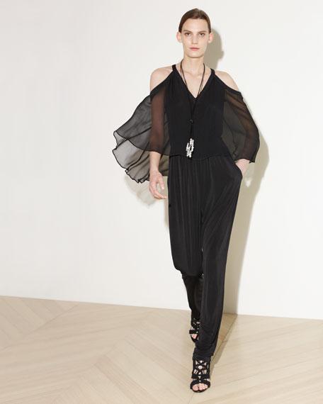 Aleah Cold-Shoulder Jumpsuit w/ Chiffon Overlay, Black