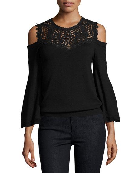Selena Cold-Shoulder Lace-Yoke Merino Sweater, Black