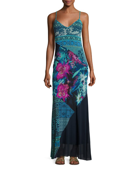 Fuzzi Sleeveless Mixed-Print Patchwork Maxi Dress, Multi