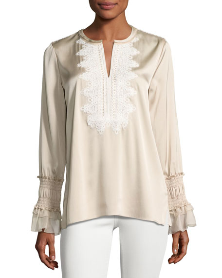 Kobi Halperin Naya Long-Sleeve Blouse w/ Crocheted Bib,