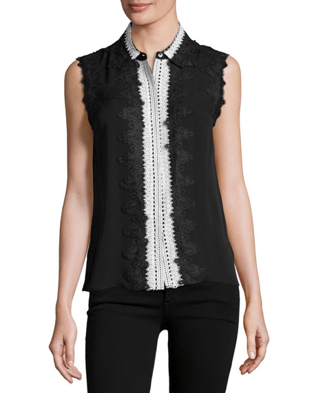 Kobi Halperin Odelia Sleeveless Lace-Trim Silk Blouse, Black