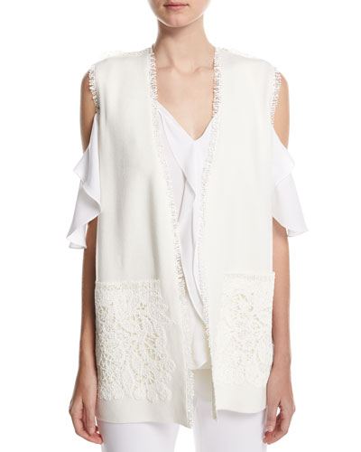 Maxine Long Lace-Trimmed Vest, Ivory