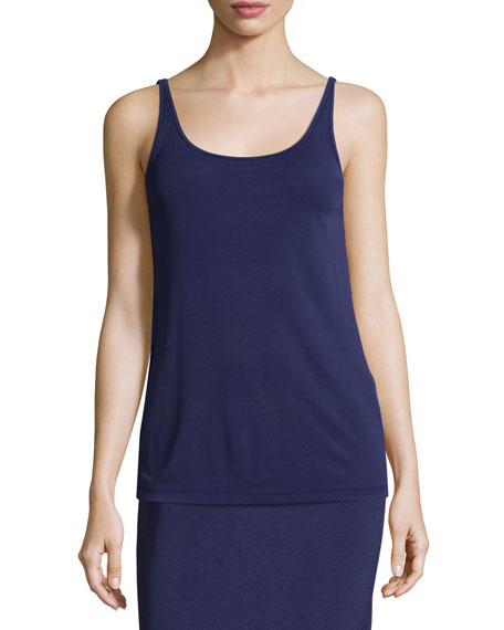 Eileen Fisher Stretch Silk Long Cami, Dark Blue,