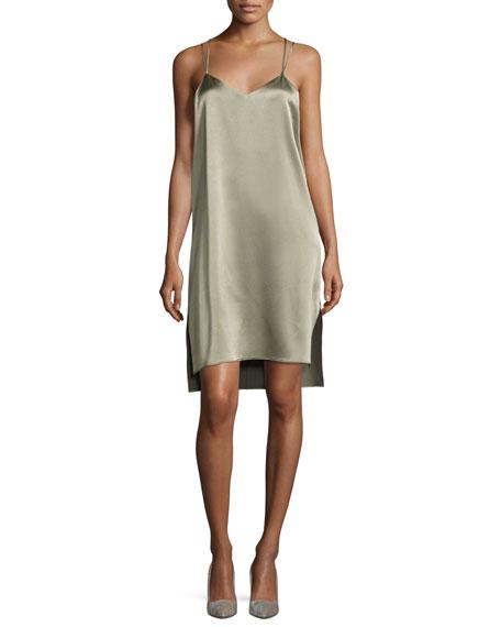 Double-Strap Satin Slip Dress, Green
