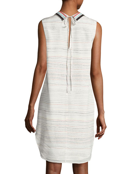 Pascal Sleeveless Scribble-Print Silk Dress, White