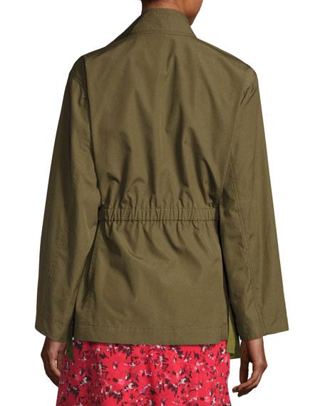 Zip-Front Military Jacket, Green