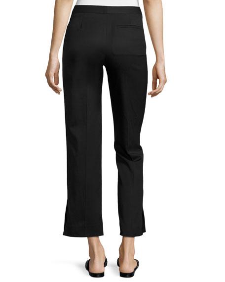 Straight-Leg Stretch-Wool Ankle Pants, Black