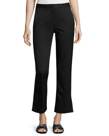 GREY Jason Wu Straight-Leg Stretch-Wool Ankle Pants, Black