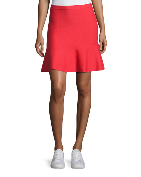 Knit Fit-&-Flare Miniskirt, Red