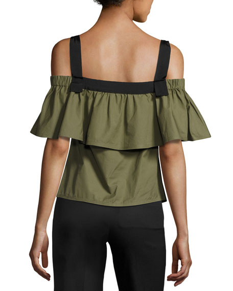 Ruffled Cold-Shoulder Cotton Poplin Top, Green