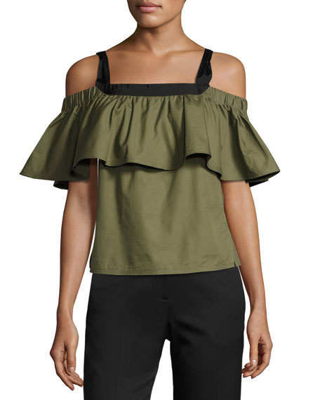 GREY by Jason Wu Ruffled Cold-Shoulder Cotton Poplin