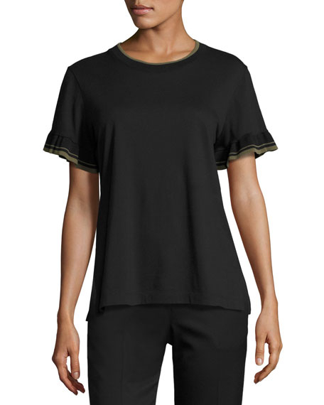 GREY by Jason Wu Ruffle-Sleeve Crewneck T-Shirt, Black