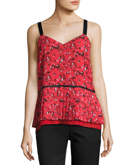 V-Neck Pleated Abstract-Print Silk Cami, Red