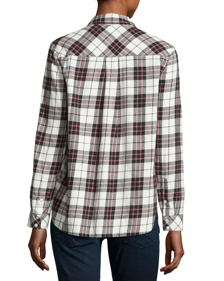Soft joie lilya plaid flannel shirt white red for Soft joie plaid shirt