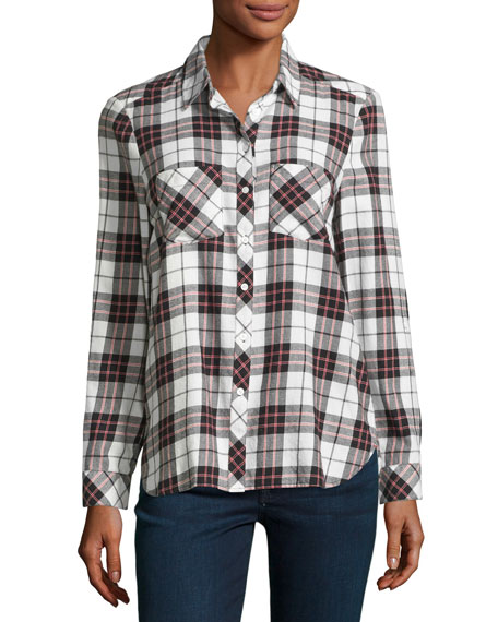 Lilya Plaid Flannel Shirt, White/Red