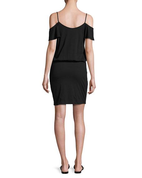 Tahlia Cold-Shoulder Jersey Mini Dress, Black
