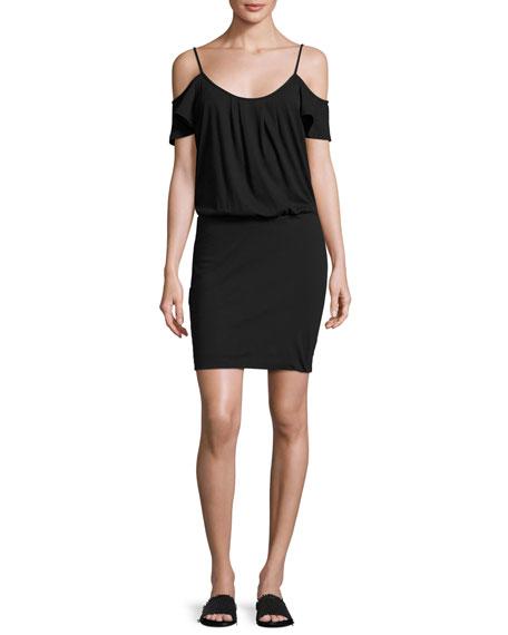Soft Joie Tahlia Cold-Shoulder Jersey Mini Dress, Black