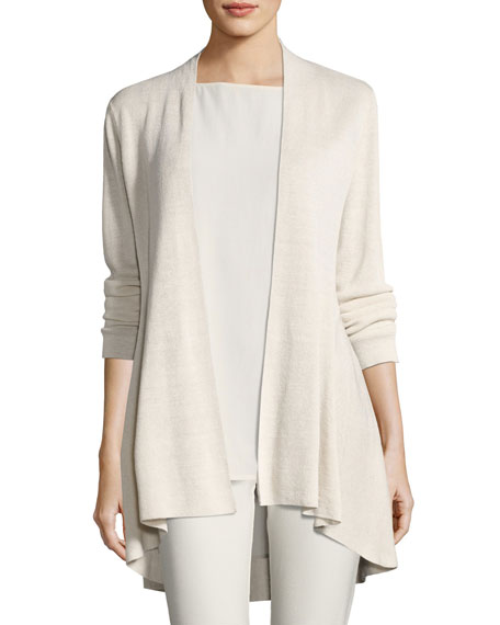 Eileen Fisher Long Crepe-Knit Shaped Cardigan, Petite