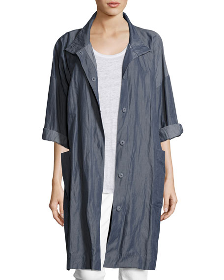 Eileen Fisher Textured Organic Cotton Steel Coat, Plus
