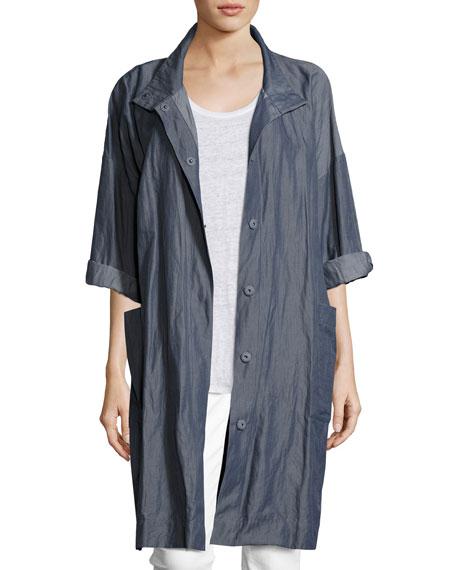 Textured Organic Cotton Steel Coat, Plus Size