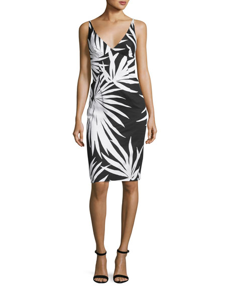 Liz Sleeveless Palm-Print Sheath Dress, Black