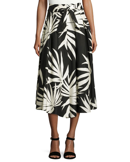 Milly Jackie Palm-Print Cotton Midi Skirt, Black