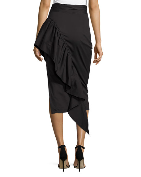 Milly Cascading Ruffle Stretch-Poplin Midi Skirt, Black