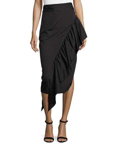 Cascading Ruffle Stretch-Poplin Midi Skirt, Black