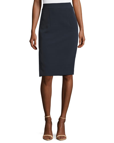 Stretch-Crepe Pencil Skirt w/ Side Slit