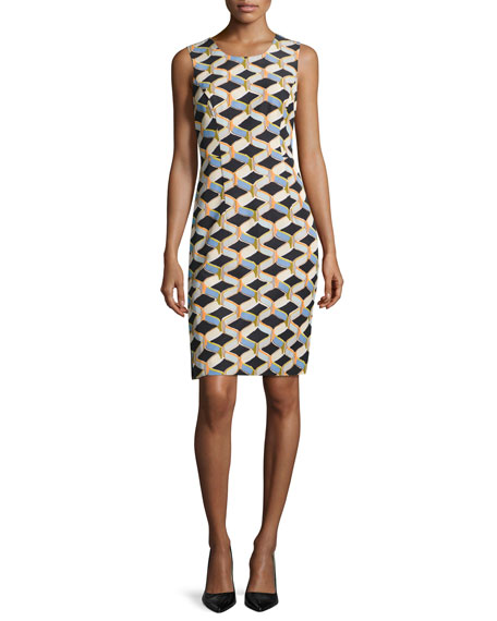 Milly Kendra Sleeveless Chain-Print Faille Sheath Dress, Black